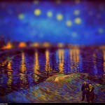 Vincent van Gogh - en mode Tilt-shift - Arles, nuit toile sur le Rhone