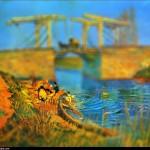 Vincent van Gogh - en mode Tilt-shift - Le Pont Langlois