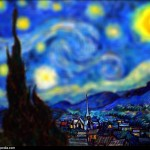 Vincent van Gogh - en mode Tilt-shift - Nuit toile