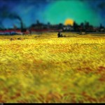 Vincent van Gogh - en mode Tilt-shift - sunset-wheat-fi