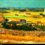 Vincent van Gogh - en mode Tilt-shift - the-harvest