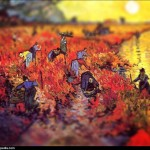 Vincent van Gogh - en mode Tilt-shift - the-red-vineyar