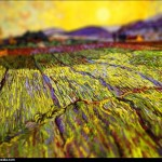 Vincent van Gogh - en mode Tilt-shift - wheat-field-wit
