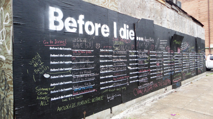La mauvaise herbe aime « Before I die… » de Candy Chang