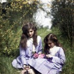 Two girls in a field, 1908