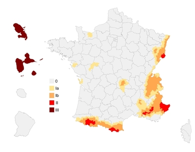 France : carte du zonage sismique avant 1991
