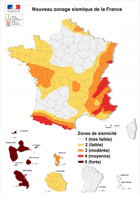 France : carte du zonage sismique après 2010