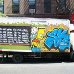 art de rue - bart simpson - i will not write sk on walls - screw this